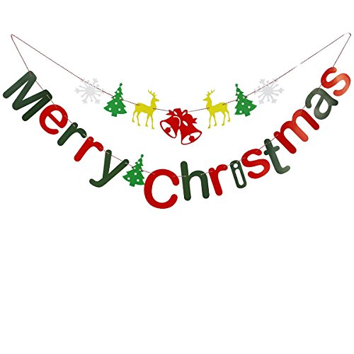 LUOEM 2pcs Merry Christmas Banner Sign Party Photo Prop Booth Christmas Tree Decorations (Photo Banner Christmas Merry)