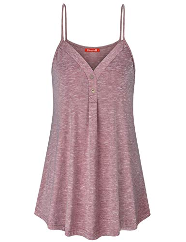 Blevonh Womens SleevelessMaternity Cami Tank Top, Women Sexy Thin Tunic Shirts Sleeveless with Buttons Vacation Flattering Undershirts Jersey Cool Regular Sleepwear Tops Rose 2XL
