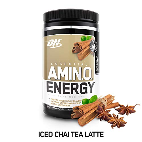 OPTIMUM NUTRITION ESSENTIAL AMINO ENERGY, Iced Chai Tea Latte, Keto Friendly BCAAs, Preworkout and Essential Amino Acids with Green Tea and Green Coffee Extract, 30 Servings (Cinnamon Essential O)