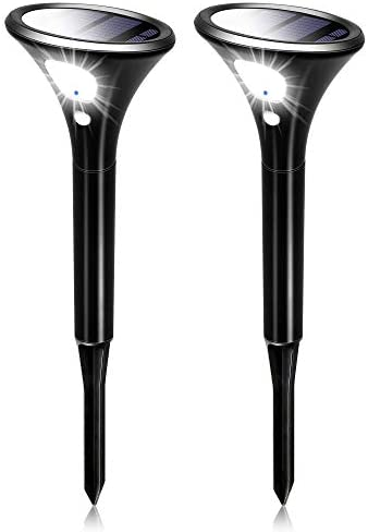 Solar Lights Outdoor, 2 Pack Solar Pathway Light Waterproof Auto On off Wireless Landscape Lighting Solar Powered LED Garden Spot Lights with Motion Sensor for Walkway, Porch, Path, Pool, Yard, Garage