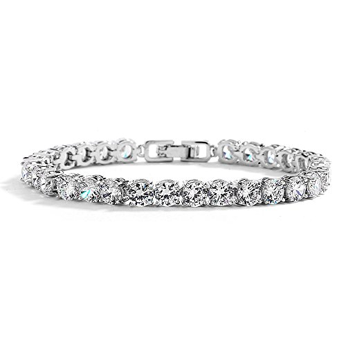 1/2 Inch Sterling Bracelet - Mariell Glamorous Platinum Silver 6 1/2