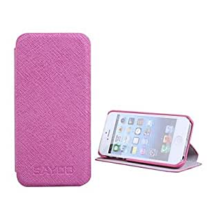 Mini - Solid Color Stone Pattern PU Leather Case with Stand for iPhone 5/5S , Color: Black