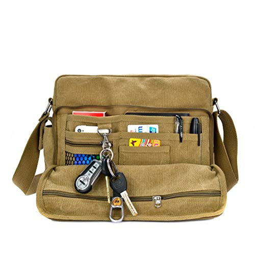 MiCoolker Messenger bag for men, Multifunction Versatile Mens Womens Canvas Messenger Bag Handbag Crossbody Shoulder Bag Leisure Bags Change Packet Khaki