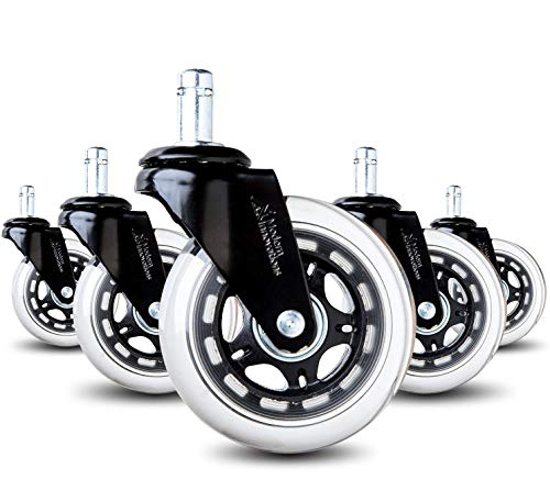 Office Chair Caster Wheels Rollerblade Style Heavy Duty Casters for Hardwood Floors, Carpets, and Tile Floors (5 Pack) by Modern Innovations