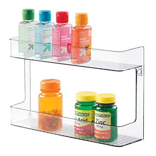 mDesign Plastic Wall Mount, 2 Tier Storage Organizer Shelf to Hold Vitamins, Supplements, Aspirin, Medicine Bottles, Essential Oils, Nail Polish, Cosmetics and More, Small - White