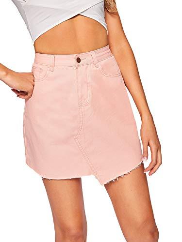 WDIRARA Women's Casual Asymmetric Hem Above Knee Pocket Button Denim Skirt Pink L