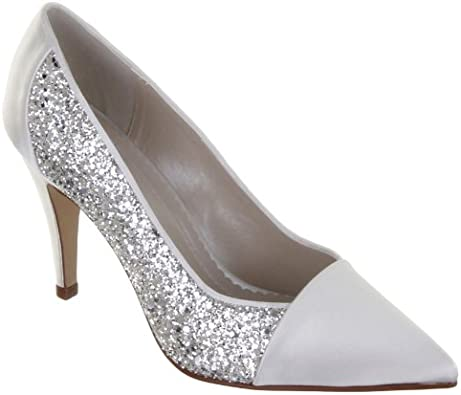 Rainbow Club Wedding Shoes Claudia Ivory And Silver Dyeable Bridal