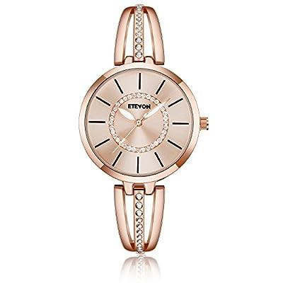 ETEVON Women's 'Crystal Bridge' Quartz Analog Watch with Luminous Pointers and Rose Gold Bracelet Waterproof, Fashion Dress Wrist Watches for Women