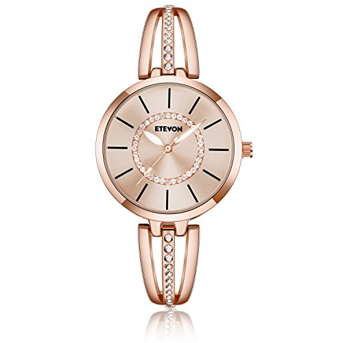 (ETEVON Women's 'Crystal Bridge' Quartz Analog Watch with Luminous Pointers and Rose Gold Bracelet Waterproof, Fashion Dress Wrist Watches for Women)