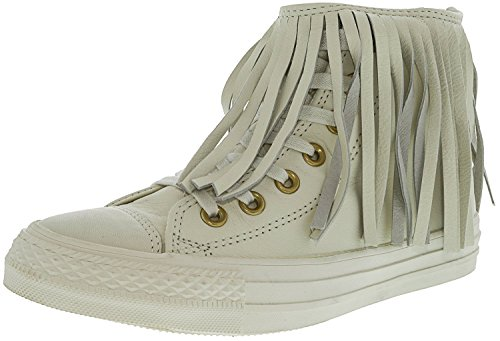 Women's Leather Sneaker Converse Fashion Top All High Fringe Egret Star gwPZRqU4