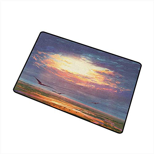 Fantasy Modern Doormat Golden Sun Beams Break Through Storm Clouds Skyline Flying Gulls Nature Imagery for Outdoor and Indoor 16