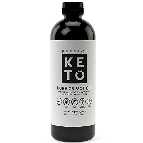 Pure C8 MCT Oil - Liquid Coconut Oil Keto Supplement to Burn Fat for Fuel on Ketogenic Diet - Medium Chain Triglycerides (Caprylic Acid) Ketones for Ketosis Brain Boosting Coconut Oil Ketone Paleo Ene