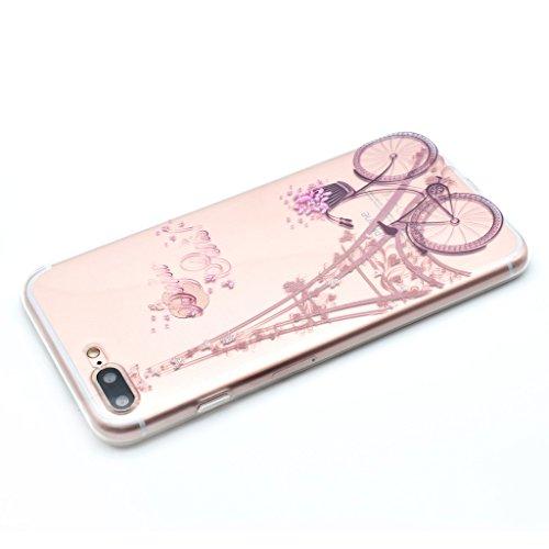 Ultra Mince Transparent Soft TPU Housse Protection Silicone Cristal Clair Case Tour Eiffel Vélo Amour Rose Etui Cover Coque pour Apple iPhone 7 (non applicable iPhone 7 Plus)