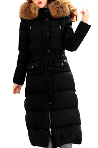 XIAOLV88 Women's Thick Slim Warm Fur Collar Long Down Coat