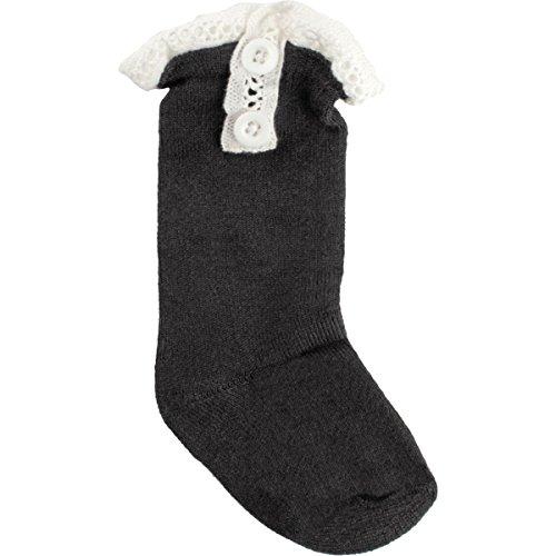 Baby Deer Baby Girls Boot Socks with Lace Ruffle Trim Size Medium 9-18 - Black