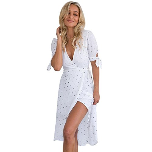 Women's Chiffon Boho Dress, 2018 New Women V Neck Short Sleeve Boho Long Maxi Pokla Dot Evening Party Dress by E-Scenery (White, X-Large) - Black Mini Dot