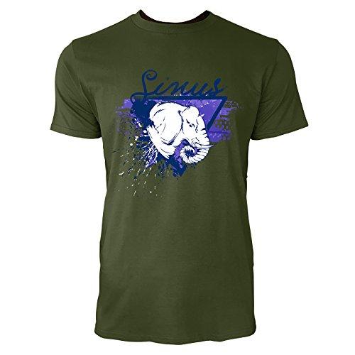 SINUS ART ® Elefantenkopf im Street Style Herren T-Shirts in Armee Grün Fun Shirt mit tollen Aufdruck