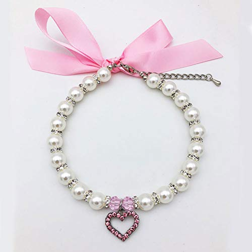 PetFavorites Pearl Crystal Dog Necklace Collar Jewelry for Small Dogs Puppy, Bling Cat Wedding Collar with Rhinestones Charm, Chihuahua Yorkie Clothes Outfits Accessories (Pink Heart, 10 to 12-Inch)