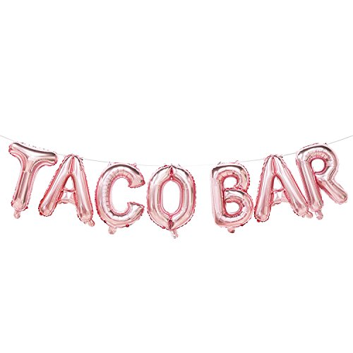Taco Bar Balloons Rose Gold | Taco Bar Banner Sign | Taco Bar Decorations for Wedding, Baby Shower, Bridal Shower, Engagement, Fiesta Party, Mexican Theme Party | Taco Bar Party Supplies -
