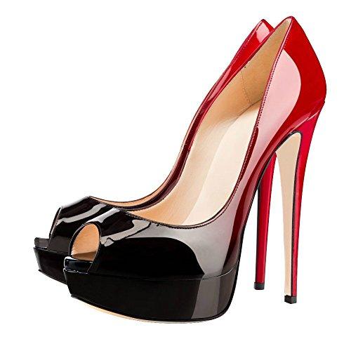 ELASHE Women High Heels Platform Pumps | 15cm Peep Toe Stiletto | 3cm Platform Classic Court Shoes Black-Red ltjTzJ7