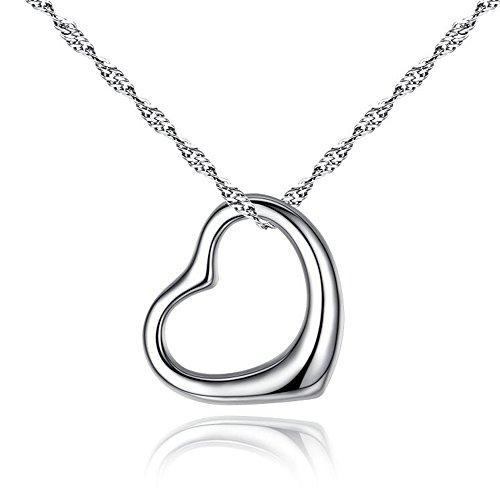 """I Love You"" Collar Colgante Plata Mujer Corazón, N62"