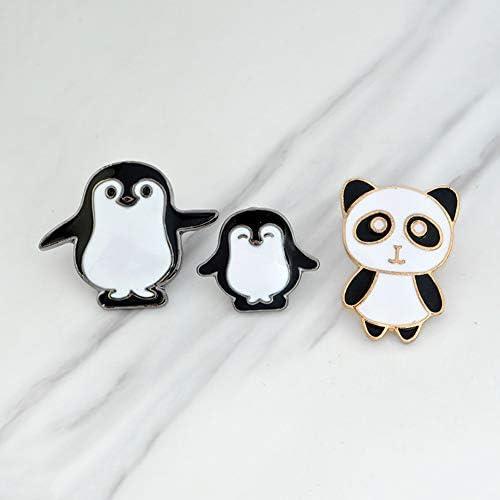 Insigne de Pin Unisexe v/êtements Sacs /à Dos Vestes Chapeau D/écor LaMure Pin de Broche d/émail de Pingouin de Pingouin de Dessin anim/é de 3 Morceaux