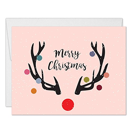 (Merry Christmas Cards with Envelopes (Set of 50) Modern Red-Nosed Reindeer Design Folded Holiday Seasonal Greeting Cards 50 Pack Boxed Blank Inside Notecards Excellent Value by Digibuddha VH0291)