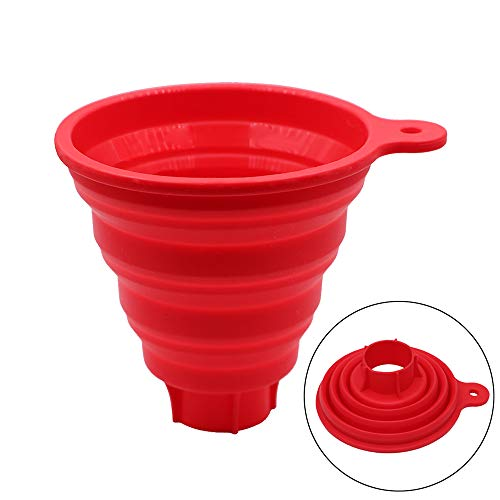 KongNai Silicone Collapsible Funnel for Jars, Foldable Large Canning Jar Funnel for Wide Mouth and Regular Jars, Food Grade Jam Spice Funnel for Canning Transferring of Liquid Solid Bean ()