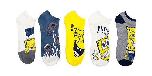 Nickelodeon Men's Spongebob 5 Pack No Show, White Assorted, 10-13