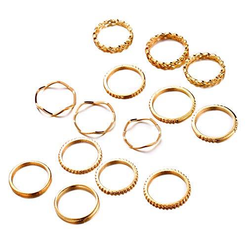 Multi Finger Ring - FINETOO 14 PCS Midi Ring Set Simple Knuckle Multi Size for Women/Girl Finger Stackable Rings Set Jewelry Friendship