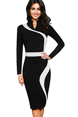 Merope J Womens Vintage Contrast Colorblock Slim Long Sleeves Pencil Dress(2XL,Black£ (Celeb Halloween Costumes 2017)