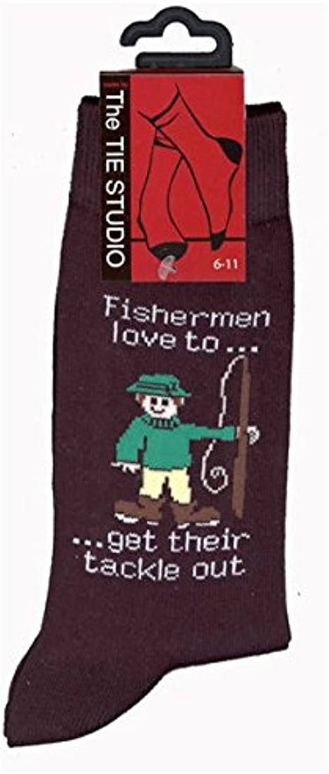 Fishermen Love To Get Their Tackle Out Unisex Novelty Ankle UK Size 6-11 Socks