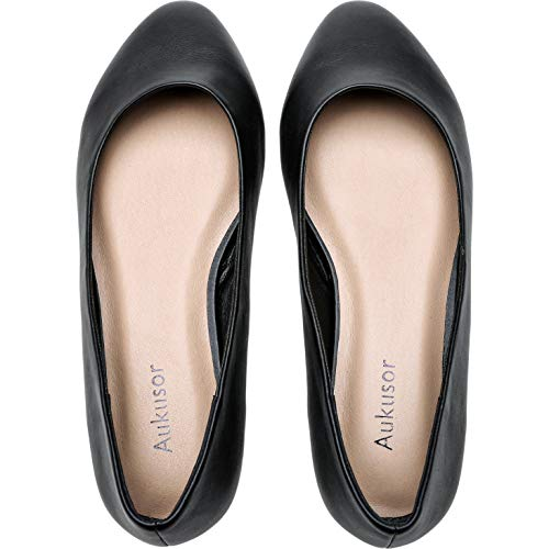 Women's Wide Width Flat Shoes - Comfortable Classic Pointy Toe Slip On Ballet Flat(BlackPu 180818,12.5) (Best Shoes For Plus Size)