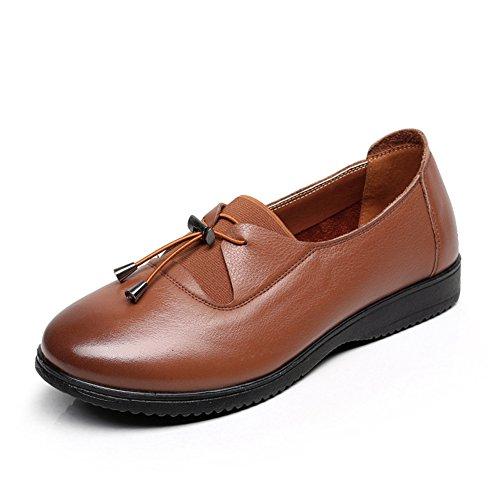 Suave casual zapatos de cuero genuinos en el final de/Primavera antideslizantes plana zapatos de suela blanda A