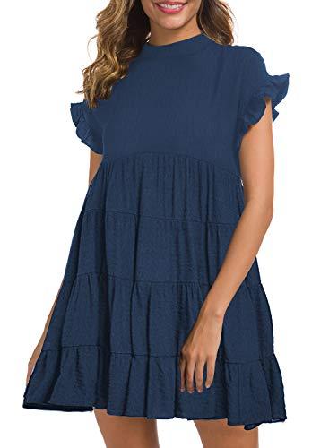 MIHOLL Women's Summer Ruffle Dresses Flowy Casual Swing Mini Dress Plus Size(XX-Large, Navy)
