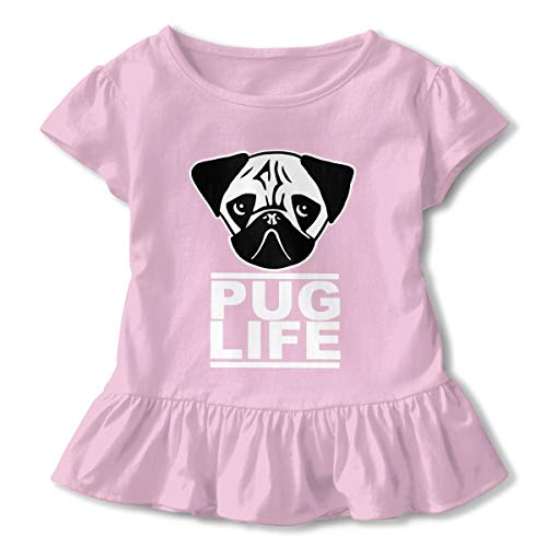 Kids Little Girl Animal Pocket Pug Dog Short Sleeve Dress Ruffle T Shirts Tops Tee Clothes Pink -