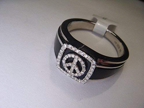 Estate Sterling 925 Silver Black Onyx Diamond Peace Sign Mens Mans Band Ring