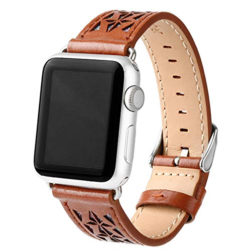 Fewear 2019 Sport Band Compatible with Apple Watch Band, iWatch Band Series 1/2/3/4 42/ 44mm Deluxe Leather Replacement Bracelet (Brown)