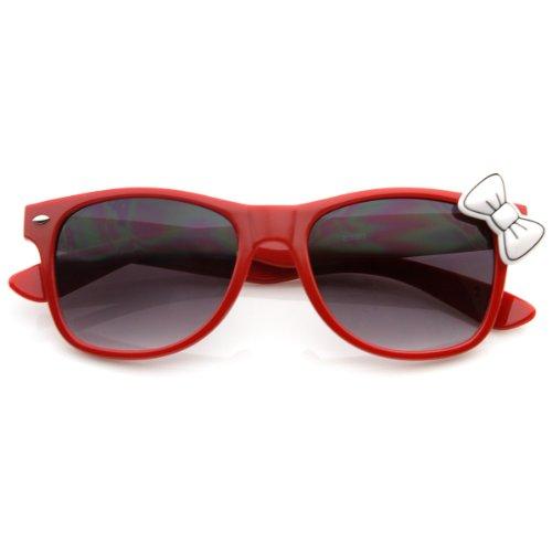 zeroUV - Ladies Trend Cat Eye Retro Fashion Horn Rimmed w/ Kitty Bow - Sunglasses Bow