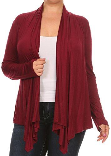 BNY Corner Women Plus Size Long Sleeve Drape Open Cardigan Casual Cover Up
