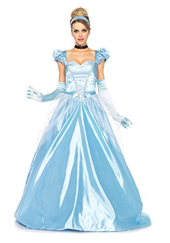 Leg Avenue Disney 3Pc. Classic Cinderella Costume, Blue, (Cinderella Costumes Womens)