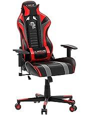 Cadeira Gamer Black Hawk com Apoio Cervical - Encosto Reclinável - Descansa Braços - Ajuste de Altura - CH05BKRD - Vermelho/Preto - ELG