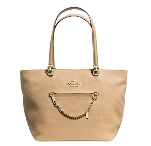 Coach-Crossgrain-Leather-Town-Car-Handbag-Zip-Top-Tote-Purse-Nude