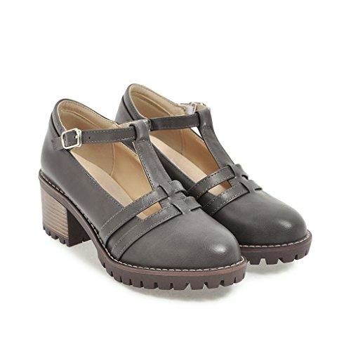 Femmes Chaussures Profonde à Ronde Grey Peu Bouche amp;X Talon Talons QIN Bloc Tête AnfxtRHxp