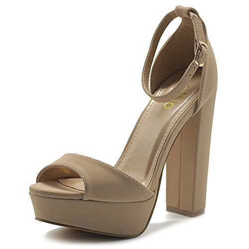 Ollio Women's Shoes Simple Platform Ankle Strap Chunky High Heeled Sandals MG00H43 (7 B(M) US, Nude) ()