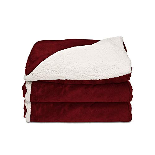 Sunbeam Heated Throw Blanket | Reversible Sherpa/Royal Mink, 3 Heat Settings, Garnet - TRT8WR-R310-25A00