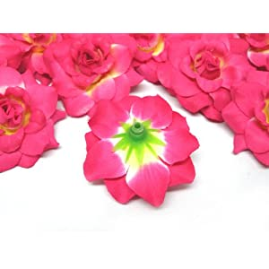 """(24) Silk Hot Pink Roses Flower Head - 1.75"""" - Artificial Flowers Heads Fabric Floral Supplies Wholesale Lot for Wedding Flowers Accessories Make Bridal Hair Clips Headbands Dress 4"""