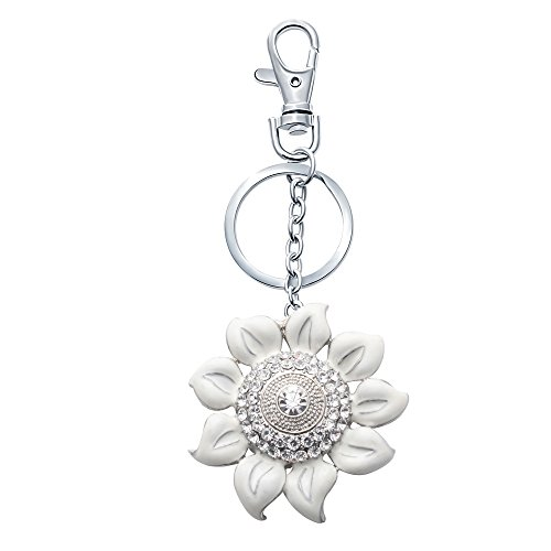 - SENFAI White Enamel Flower Keychain Car Keyring Key Jewelry Pendant Accessories Handbag Key Holder