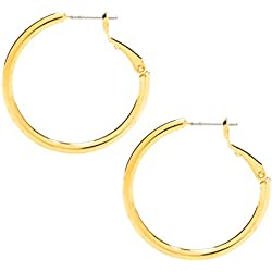 Hoop Earrings, Medium, 24K Gold Overlay Premium Fashion Jewelry, Hypoallergenic, Safe for Most Sensitive Ears, Guaranteed For Life 1.25 Inches