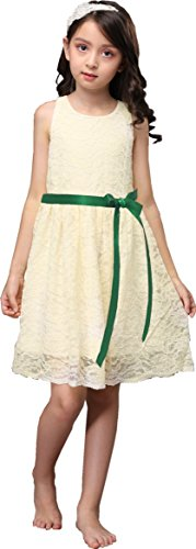 Sash Taffeta Wedding Dress (Shop Ginger Wedding Ivory Flower Girl Dress Lace Bow Sash Children Communion D6 (3T, Emerald Ribbon))
